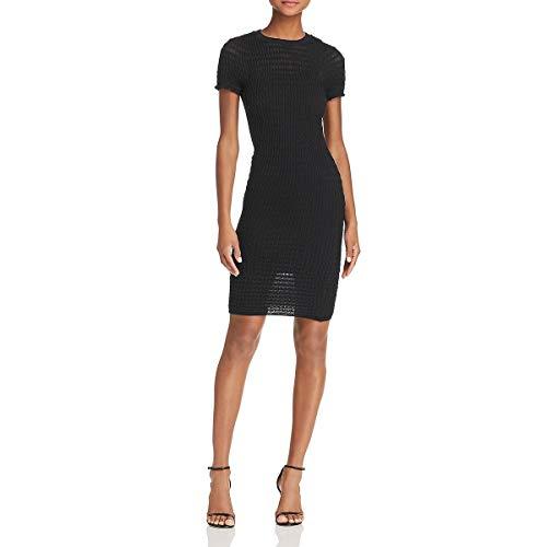 T by Alexander Wang Womens Wool Blend Ruffled Bodycon Dress Black S