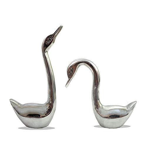 Swan Tabletop Set Decor Aluminum Swan Figurine Paperweight, Glass Swan Collectible Statue Table Centerpiece Ornament, 8' , 6'