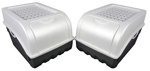 Novaliv Kartoffel Aufbewahrungsbox   mittel 5L   PERLMUT Weiss   Kartoffelbox   Gemüsebox stapelbar Zwiebelbox Kartoffelkorb Obstbehälter Kartoffelkiste Zwiebel Aufbewahrung Frischhaltedose Möhren