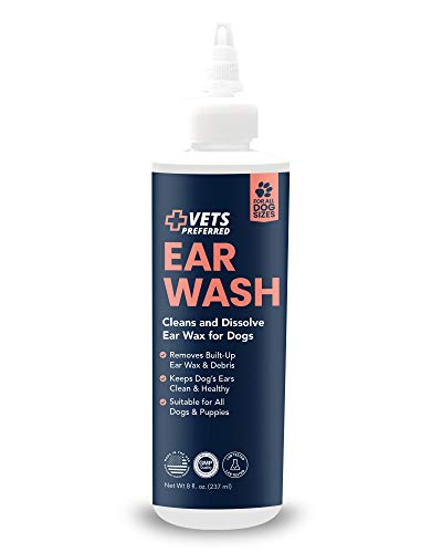 Vets Preferred Dog Ear Cleaner & Wash, For Dog Itch & Irritation Relief & Wax Removal - Effectively Removes Ear Wax Build Up in Dogs - One Dog Ear Wash Fit for All Breeds