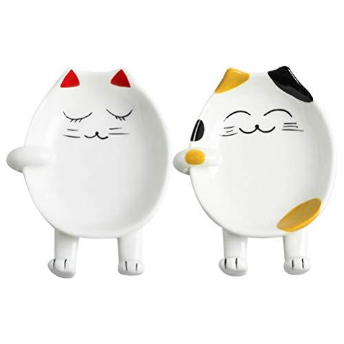 BESTonZON 2 Pezzi Poggia Cucchiaio in Ceramica Gatto dei Cartoni Animati Stoviglie Cucchiaio Resto Bancone Cucina Cucchiaio da Cucina Coperchio Pentola Spatola Resto per La Cucina di Casa