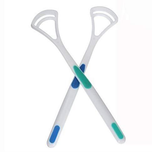 Xrten 2 Pezzi Puliscilingua Doppio in Plastica Pulisci, Lingua per Migliora l'igiene Dentale dell'igiene