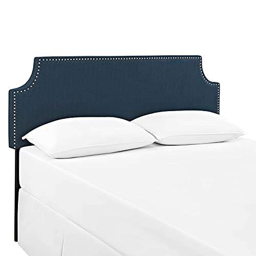 Modway Laura Linen Fabric Upholstered Full Size Headboard with Nailhead Trim in Azure