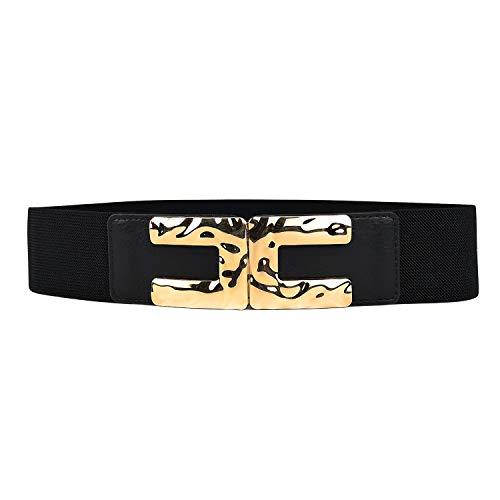 MYB Cintura elastica per donna - fibbia martellata - chiusura a gancio - diversi colori disponibili (73 cm, Nero)