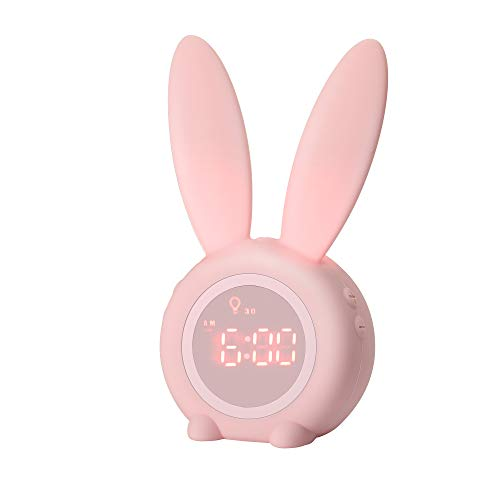 Kids Alarm Clock with Night Light for Toddlers, 5 Ringtones, Touch Control and Snoozing with 2000mAh Rechargeable Battery Children s Sleep Trainer for Boys Girls Bedroom by KKUYI