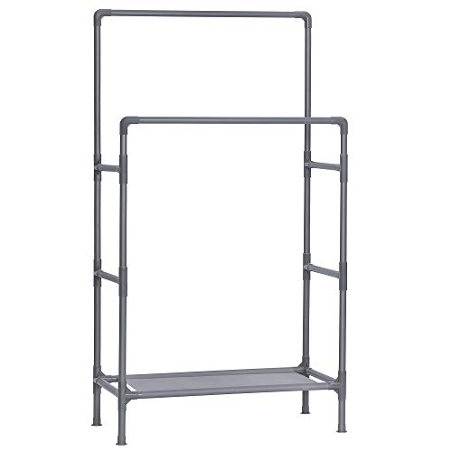 SONGMICS Clothes Rack, Metal Stand with 2 Hanging Rails and Storage Shelf, Max. Load 55 kg, Easy Assembly, Grey RDR001G02