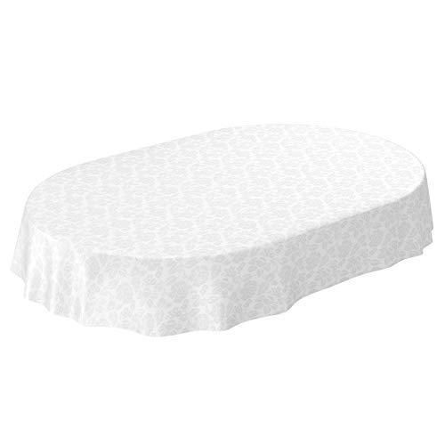 ANRO Wachstuchtischdecke Wachstuch abwaschbar Tischdecke Blumen Einfarbig Uni Weiß Reliefdruck Damast Oval 180x140cm