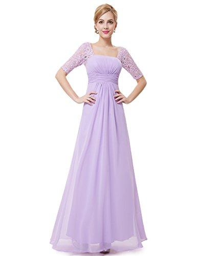 Ever-Pretty Womens Half Sleeve Square Neckline Evening Dress 4 US Light Purple