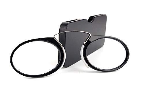 CHIRORO Unisex Lesebrille Ultraleichte Clamp Nose Ruhen Mini Lesebrille ohne Tempelarme Leser mit Tragbare Kreditkartenformat Universal Etui,Schwarz,1.5 x