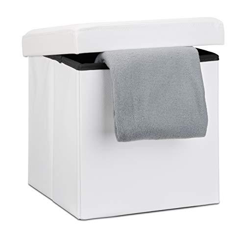 Relaxdays Faltbarer Sitzhocker, Sitzcube mit Stauraum u. Deckel, Fußablage, Sitzwürfel aus Kunstleder, 38x38x38 cm, weiß