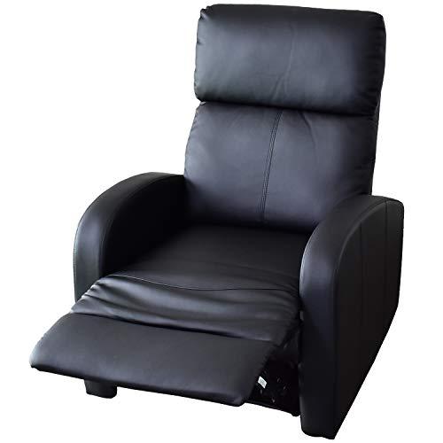 DORIS リクライニングチェア ソファー ひとり用 1人掛け 幅72cm フットレスト 肘掛け ブラック アレッタ1P