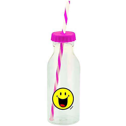 Zak Smiley Emoticono Feliz Botella con Pajita 55cl de Color Fucsia