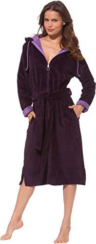 Morgenstern Damen Bademantel mit Reißverschluss in Burgund Hausmantel Saunabademantel lang mit Kapuze Frauen Baumwolle Microfaser Viskose Größe XL