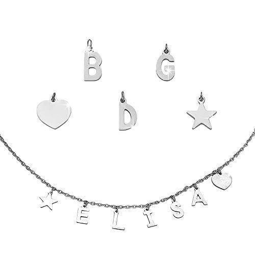 Beloved Collana componibile semplice in acciaio – personalizzabile fino a 15 lettere e simboli pendenti – nome, parola, iniziali, simbolo – colore silver (5 Lettere/Simboli)