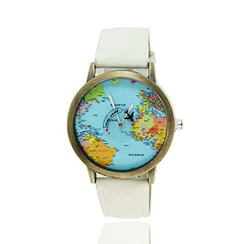 DAMAJIANGM Mapas del Mundo Patr¨n de AVI¨n Correas de Lona Movimiento de Cuarzo Relojes de Pulsera Unisex Blanco