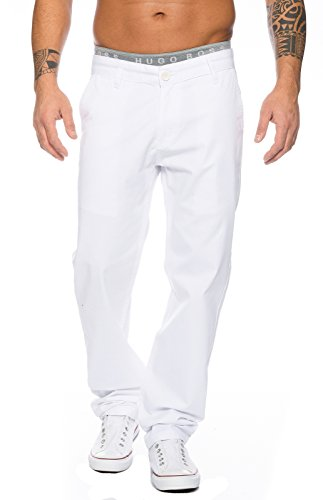 Rock Creek Herren Designer Chino Stoff Hose Chinohose Regular Fit Herrenhose W29-W40 RC-2083 [RC-2083 - Weiß - W34 L34]