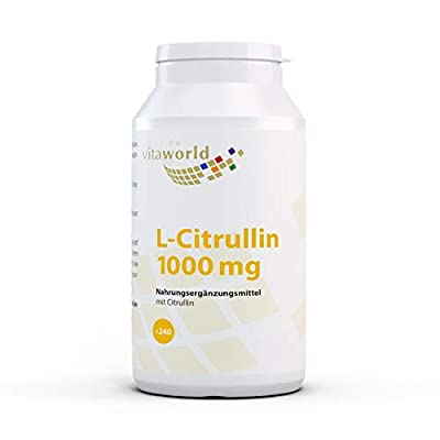 Vita World Pack of 3 L-Citrulline 1000mg 3 x 240 Vegetarian Tablets Made in Germany