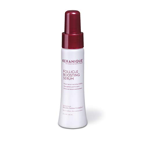 Keranique Follicle Boosting Serum for Healthy Hair Growth with Keratin Amino Complex. Fights build-up of DHT, nourishes scalp, stimulates hair follicles. Use daily for thicker fuller healthier hair