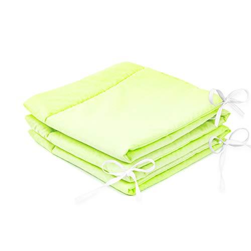 Amilian® Bettumrandung Nest Kopfschutz Nestchen 420x30cm, 360x30cm, 180x30 cm Bettnestchen Baby Kantenschutz Bettausstattung Einfarbig: Hell - Grün (180x30)