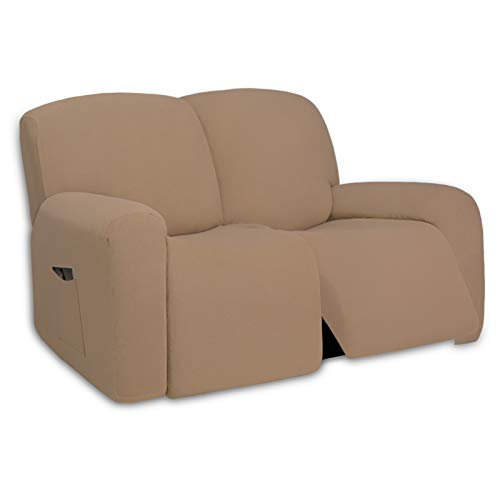 PureFit Super Stretch Loveseat Recliner Sofa Couch Cover with Pocket – 2 Seats Lazy Boy Non Slip Soft Sofa Slipcover, Washable Reclining Furniture Protector for Kids, Pets (Recliner Loveseat, Camel)