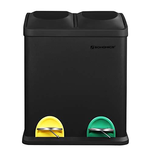 SONGMICS Mülleimer 30 Liter, Mülltrennung, 2 x 15 Liter, Abfalleimer, Treteimer mit Inneneimern, farbigen Pedalen, Mülltrennsystem für die Küche, schwarz LTB30B