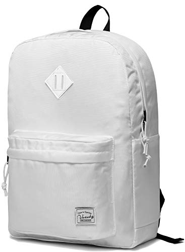 Lightweight Backpack for School, VASCHY Classic Basic Water Resistant Casual Daypack for Travel with Bottle Side Pockets (White)