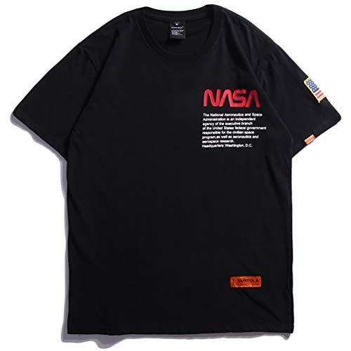 半袖 Tシャツ 春夏 NASA ロゴ オーバーサイズ バックプリントスポーツ カットソー 原宿系 黒 B6033A-L