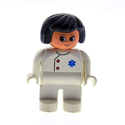 Bausteine gebraucht 1 x Lego Duplo Figur Frau Mutter Hose Jacke Creme Weiss mit EMT Stern Haare schwarz Arzt Ärztin Doktor für Krankenhaus 2688 9180 2682 4555pb016