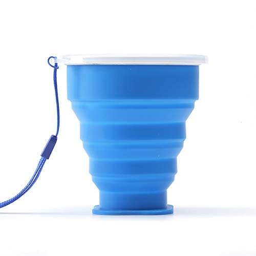 Vaso plegable de silicona para viaje, ideal para senderismo, camping, picnic, color azul