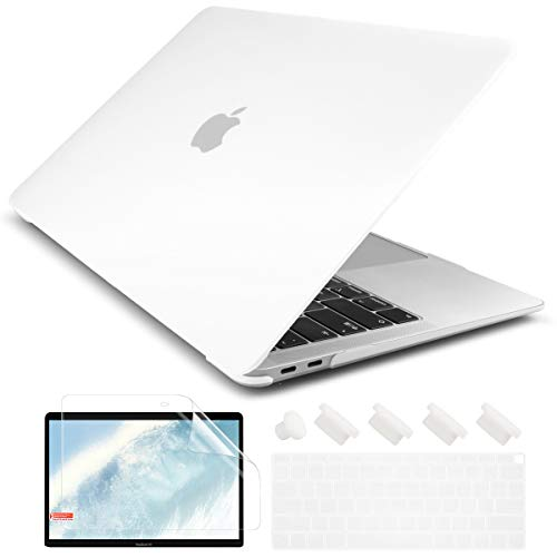 Dongke New MacBook Air 13 inch Case 2020 2019 2018 Release Model A2179/A1932, Rubberized Frosted Matte See Through Hard Case Cover for MacBook Air 13.3 inch with Retina Display Touch ID - Transparent