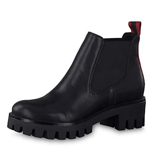 Tamaris Damen Stiefeletten 25424-23, Frauen Chelsea Boots, Women's Woman Freizeit leger Stiefel halbstiefel Stiefelette,Black MATT,40 EU / 6.5 UK