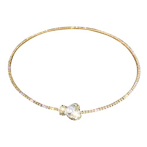 JIAQINGRNM - Conjunto de collar y collar de circonio con temperatura simple, pulsera de estilo europeo y americano, pulsera de San Valentín, día de la madre, regalo