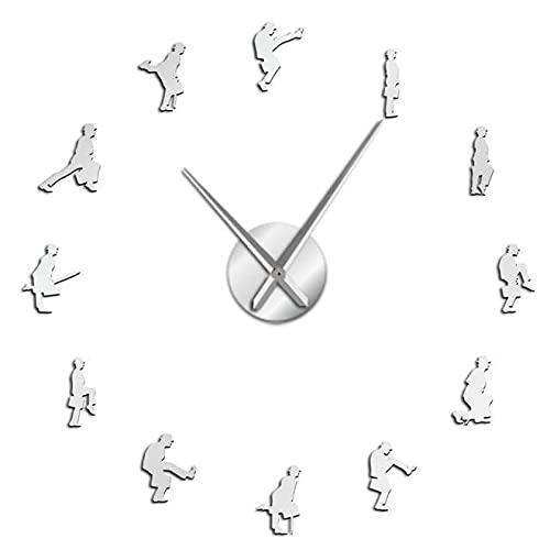 xinxin Reloj de Pared Ministerio de Paseos tontos Reloj de Pared de Bricolaje Moderno Comedia británica Cultura Popular Etiqueta de Arte de Pared Hombre Divertido Reloj Grande sin Marco