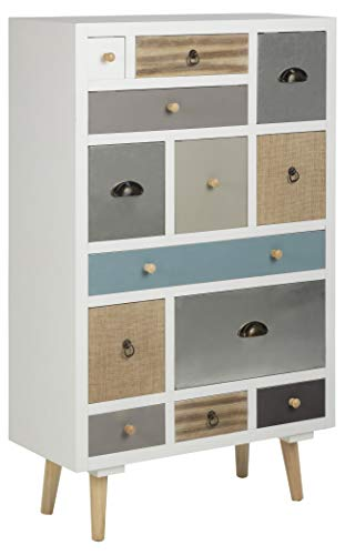 AC Design Furniture Cómoda Suwen Cajones Multicolores, Patas de Pino, lacado Transparente, 13 Piezas, Blanco, 70 x 30 x 114 cm