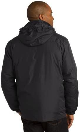 Port Authority Men's Polyester Colorblock 3-in-1 Jacket, L, Black/Grey