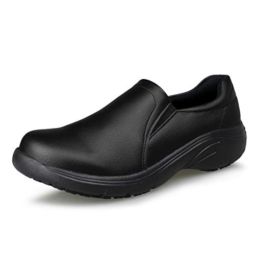 Hawkwell Women's Lightweight Comfort Slip Resistant Nursing Shoes,Black PU,9 M US