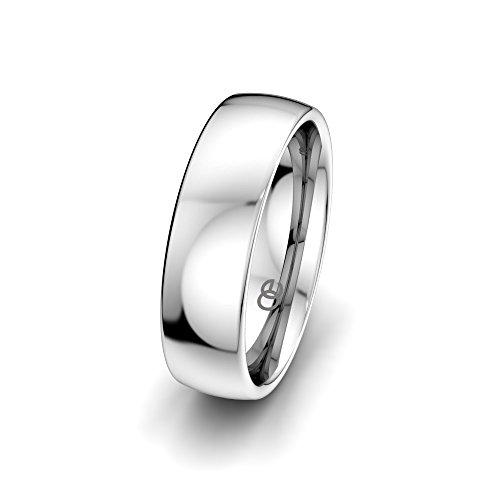 Moncoeur Eheringe Classic Wedding + 925 Sterling Silber Bandring Unisex + Klassische Trauringe + Partnerring + Silberring + Verlobungsring + Comfort-Fit + Luxusetui