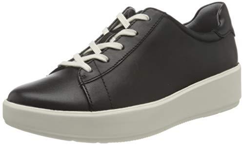 Clarks Layton Pace, Zapatillas Mujer, Piel Negra, 39.5 EU