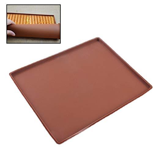 1 alfombrilla para hornear suiza rodillo para tartas antiadherente de silicona para horno, bandeja flexible para hornear, herramientas para hornear (café)