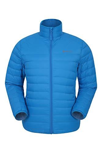 Mountain Warehouse Doudoune Featherweight Homme - Manteau d'hiver léger, Entretien Facile, Sac de Rangement, Résistante à l'eau, Bomber - pour Le Camping par Temps Froid Bleu Cobalt M