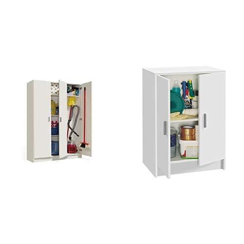 Habitdesign 007143O - Armario Multiusos 3 Puertas, Color Blanco, Dimensiones 109 cm (Largo) x 180 cm (Alto) x 37 cm (Fondo) + Kawai A4 - Mueble Armario Multiusos Bajo 2 Puertas, Color Blanco