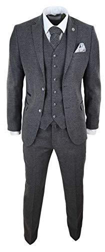 "TruClothing.com Herrenanzug 3 Teilig Wollenanteil Tweed Design 1920 Vintage Klassisch - grau 52EU/42UK Sakko- 36\"" Taille"