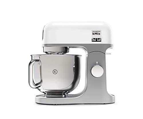 Kenwood kMix KMX750WH - Robot de Cocina Multifunción, 1000 W, Bol Metálico de 5 L con Asa, Gancho para Amasar, Varillas, Mezclado K, Acero Inoxidable, 6 Velocidades, Color Blanco
