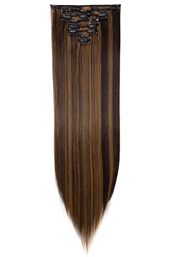 Estensione dei Capelli Testa Piena 8 Pezzi 18 Clip Clip in Hair Extensions Sintetico Resistente al Calore Parrucchino Lungo Dritto 66cm Castano scuro & biondo sabbia