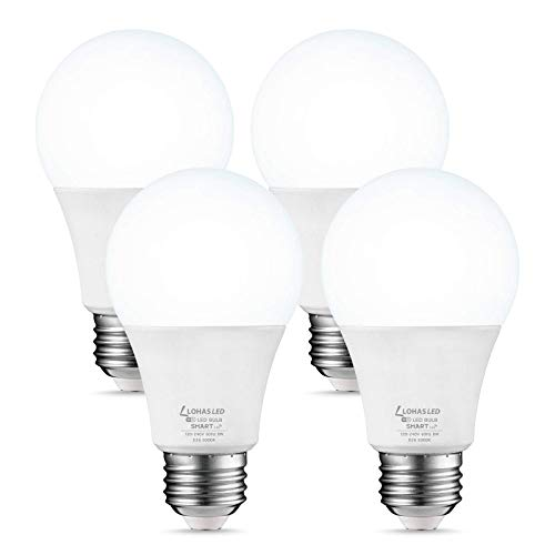 LOHAS A19 Smart Light Bulb, Daylight 5000K LED Bulb, 8W 50W Equivalent WiFi Lights, E26 Medium Base Dimmable via APP, Compatible with Google Home, Alexa, Siri, 720LM for Bedroom, Home Lighting, 4 Pack