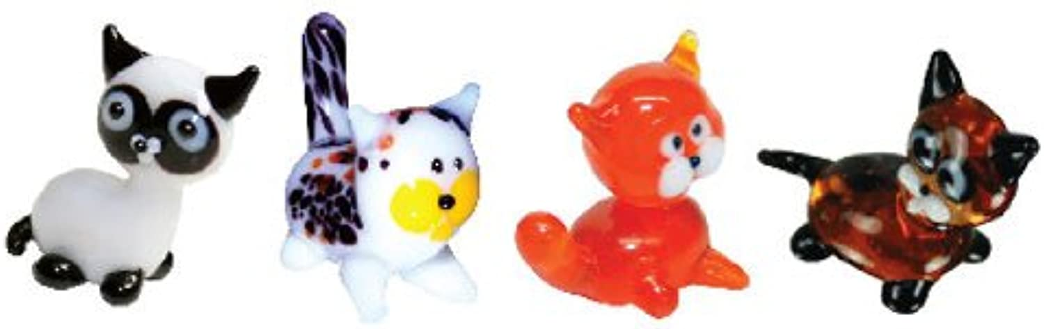 Looking Glass Miniature Collectible - Siamese   Calico   Tabby   Kitten (4-Pack)
