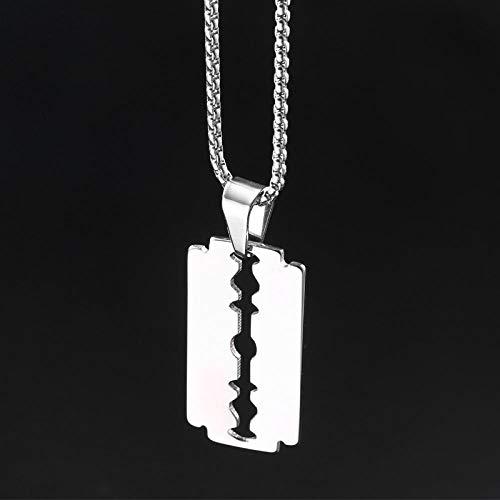 GenericBrands Halskette Anhänger Anhänger Halskette Edelstahl Klinge Rasierer Halskette von Friseur Geschenke für Männer Schmuck