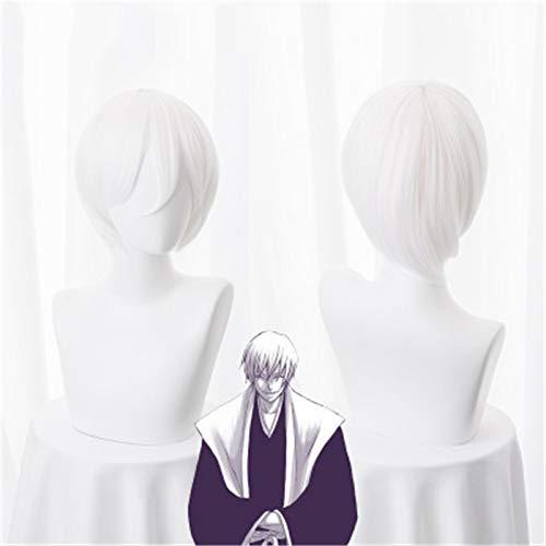 Bleiche Ichimaru Gin Cosplay Perücke Weiß Kurzes Kunsthaar Halloween Karneval Anime Kostüm Perücken KUZW031A