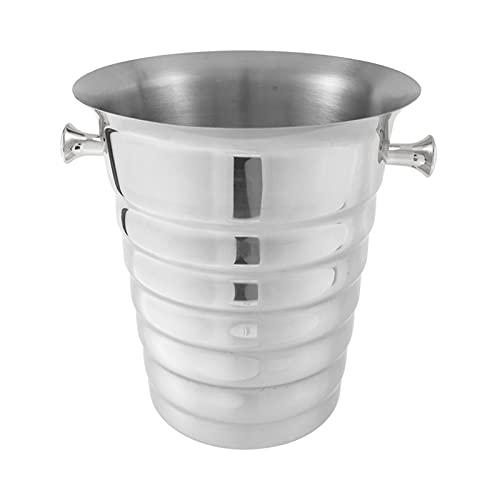 Acero Inoxidable Espesado Hielo Bucket Barra Suministros Suministros Restaurante Cerveza Vino Cubo Champagne Refrigerador (Color : Silver)