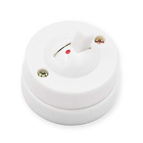 4pcs mejoras para el hogar retro redondo interruptor de palanca montado en la pared interruptor de luz LED Miniatura 6A250V (Color : Blanco)